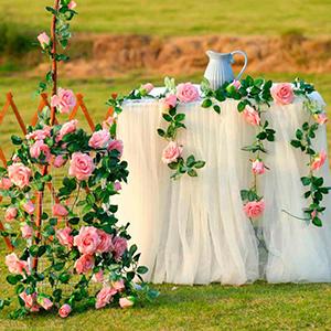 pink rose vines wedding