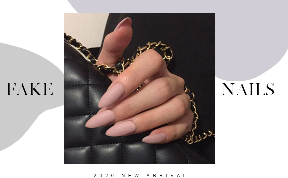 Fashion Press On Nails Party Matte Fake Nails False Nails Hand Painted Nails for Women and Girls