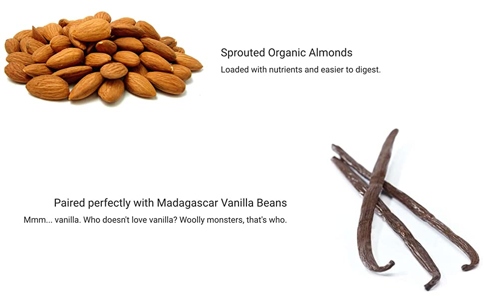 Sprouted Organic Almonds with Madagascar Vanilla Beans