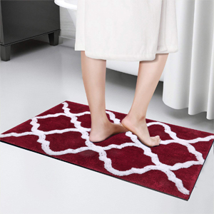 "Shaggy Soft Plush Bath Rug Geometric Floor Carpet Machine Washable Bedroom Mat Rug 18""x26""+18""x47"""