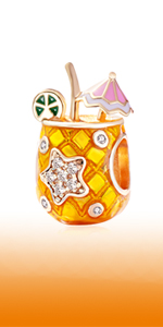 Tropical Drink Charms, Rose Gold 925 Sterling Silver Pineapple Beads with CZ