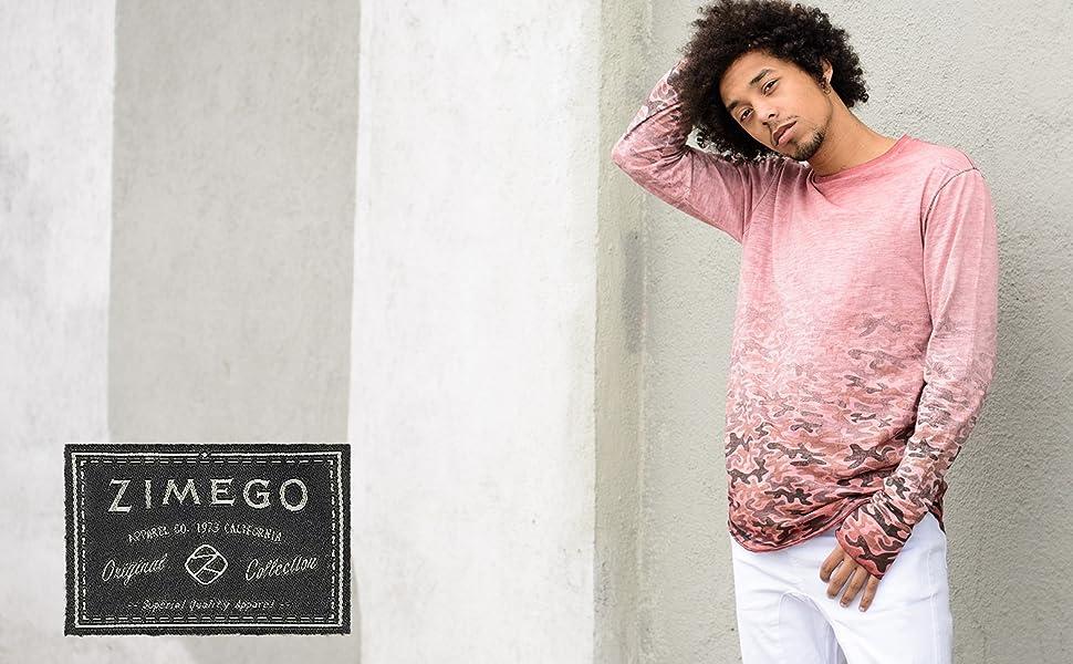 Zimego model wearing streetwear camouflage hipster vintage tee