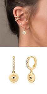 Dsic Evil Eye Huggie Hoop Earrings