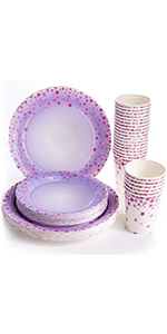 Floral Party Supplies (Serves 24), Disposable Dinner Paper Plates, Paper Cups, Dessert Plates