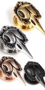 skull plugs and tunnels for ear gauges
