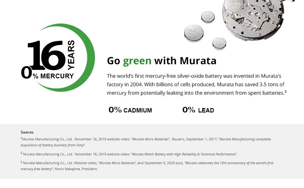 Mercury-free Murata watch batteries