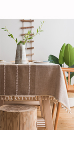 ColorBird Solid Embroidery Lattice Tablecloth Cotton Linen Dust-Proof Checkered Table Cover