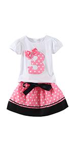 girls skirt set with polka dot