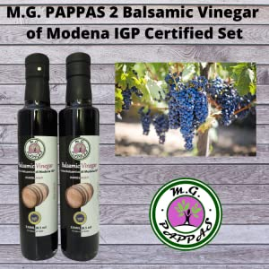 M.G. PAPPAS Balsamic Vinegar of Modena Barrel Aged Sweet Gourmet Syrup10 Year Old Aceto Balsamico