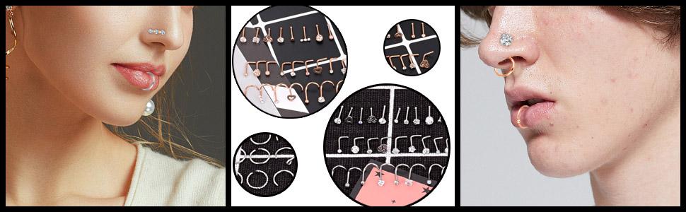 stainless steel piercing rings studs hoop set
