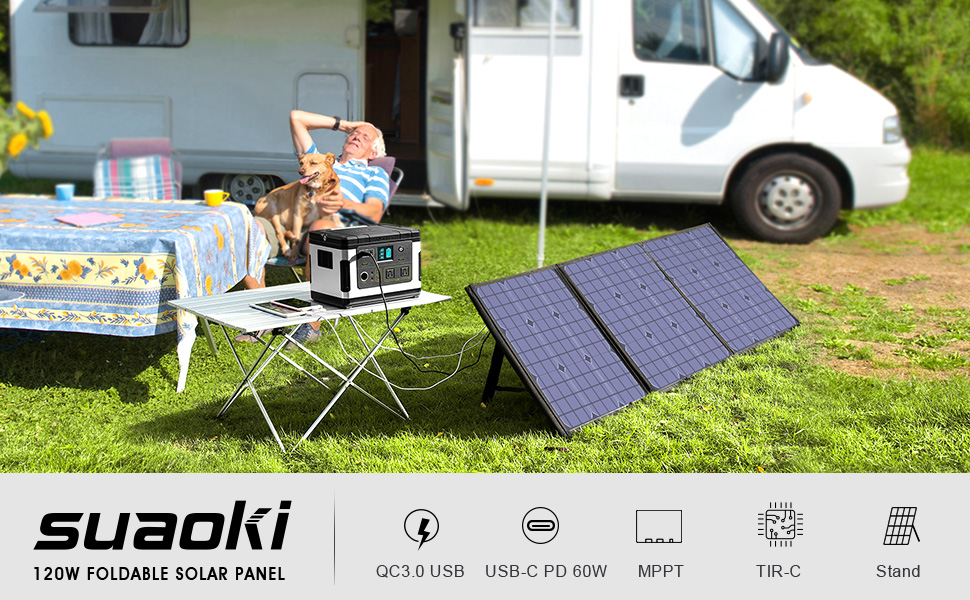 Suaoki Foldable 120w Solar Panel Charger Compatible Jackery Goal Zero Yeti Enkeeo Webetop Paxcess Rockpals Power Station With Quick Charge 3 0 60w Power Delivery Usb C For Home Camping