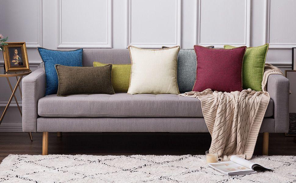 farmhouse pillows accent decor rustic style linen pillow covers