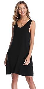 Vlazom Women's V Neck Nightgown Sleepshirts