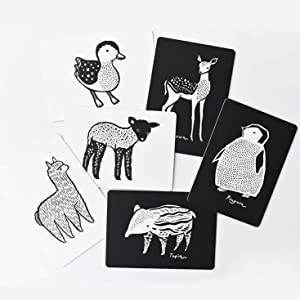art cards, artwork, illustration, black and white, animals, learning, education