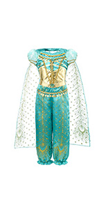 Two-piece  outfit includes a top and a pant. This  costume is made of satin sequin