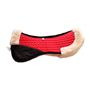 Faux Fur/Sheepskin Horse Half Pads-Red