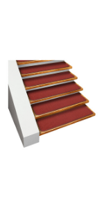 Skid Resistant House Home and More Gray Stair Treads Adhesive Carpet Brick Red