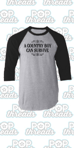 Pop Threads Country Music Western Wear Style Cowgirl Cowboy Raglan Baseball Tee Shirt