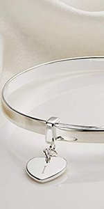 925 Sterling Silver Baby's Personalized Love Heart Baptism Bangle