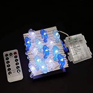 seahorse string lights battery powered 40 warm white led waterproof 8 mode remote control