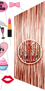 rose gold foil fringe curtain happy 13th birthday girl lips cupcake bff beard 13 & fabulous mic lips