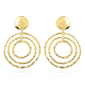 SP SOPHIA COLLECTION Women's Statement Gold Hammered Dangle Round Cut-out Clip On Earrings