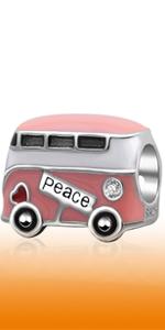 Enamel Pink Love Peace Bus Charms fits Pandora Women Bracelet