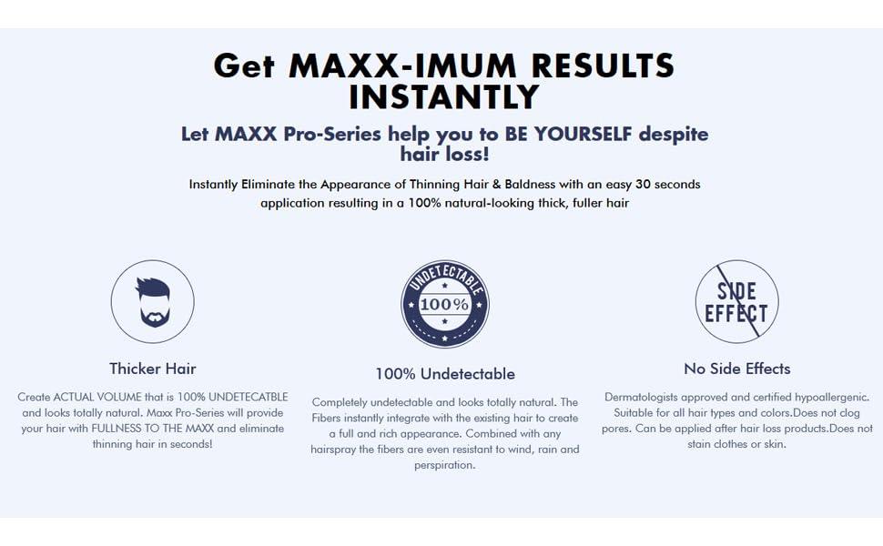 Maxx Pro Series Hair Fibers advantages for hair loss and thinning hair
