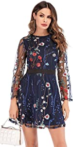 Women's Round Neck Floral Embroidered Mesh Dress