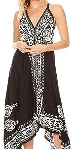 sleeveless spaghetti midi short long maxi batik solid white black summer casual v-neck stretchy nice