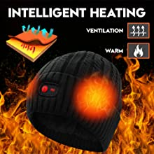 heated hat winter warm rechargeable battery heat skull beanies cycling hiking head warmer