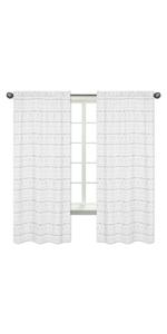 Grey and White Boho Herringbone Arrow Window Treatment Panels Curtains
