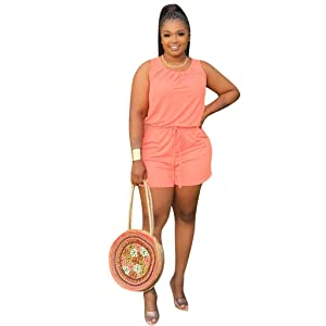 Plus Size Jumpsuits Casual Loose Sleeveless Women Rompers Round Neck with Pockets Elastic Waist