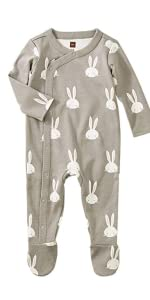 Tea Collection Footed Romper, Bunnies, Multiple