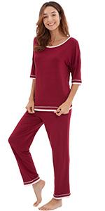 3/4 sleeve pajamas long pants pajama set bamboo viscose sleepwear jammies cool soft pj sleep shirt