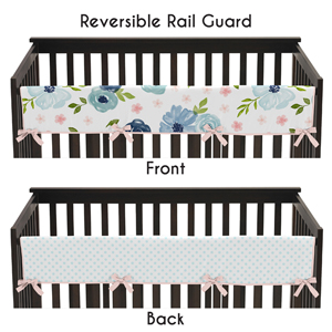 Navy Blue and Pink Watercolor Floral Girl Long Front Crib Rail Guard Baby Teething Cover