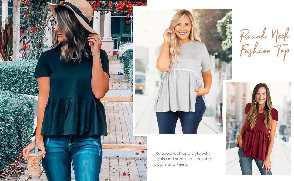Wildtrest Women's Loose Ruffle Hem Shirt Short Sleeve Babydoll Peplum Blouse Top