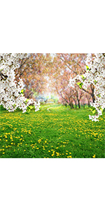 Spring Meadow Flower Tree backdrop