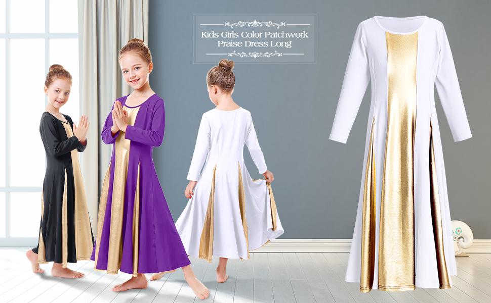 Girls Liturgical Praise Dress Junior Latin Ballroom Dance Competition Costumes