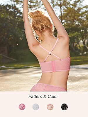 lace sexy super cute bra longline removable straps regular or crisscross wearing pink black white