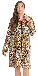 zip front lounger robe for women duster housecoat pajama loungewear animal print leopard