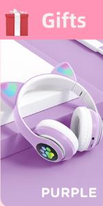 Kids Headphones cat Wireless LED Light Up Bluetooth Over On Ear Mic iPhone/iPad/Kindle/School purple