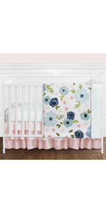 Navy Blue and Pink Watercolor Floral Baby Girl Nursery Crib Bedding Set - 11 pieces