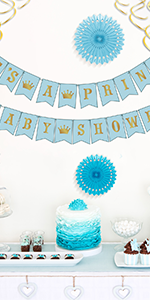 Its A Prince Baby Shower Decorations for Boy - 55 Piece Blue/White/Gold/Rose Gold