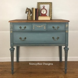 Dixie Belle Stormy Seas Chalk Paint, Vintage Duck Egg Chalk Paint, DBP Mini Angle Synthetic Brush