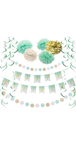 Mint Gold Birthday Party Decorations