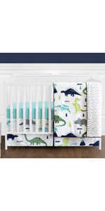 Blue and Green Modern Dinosaur Baby Boys Crib Bedding Set Without Bumper for Mod Dino Collection