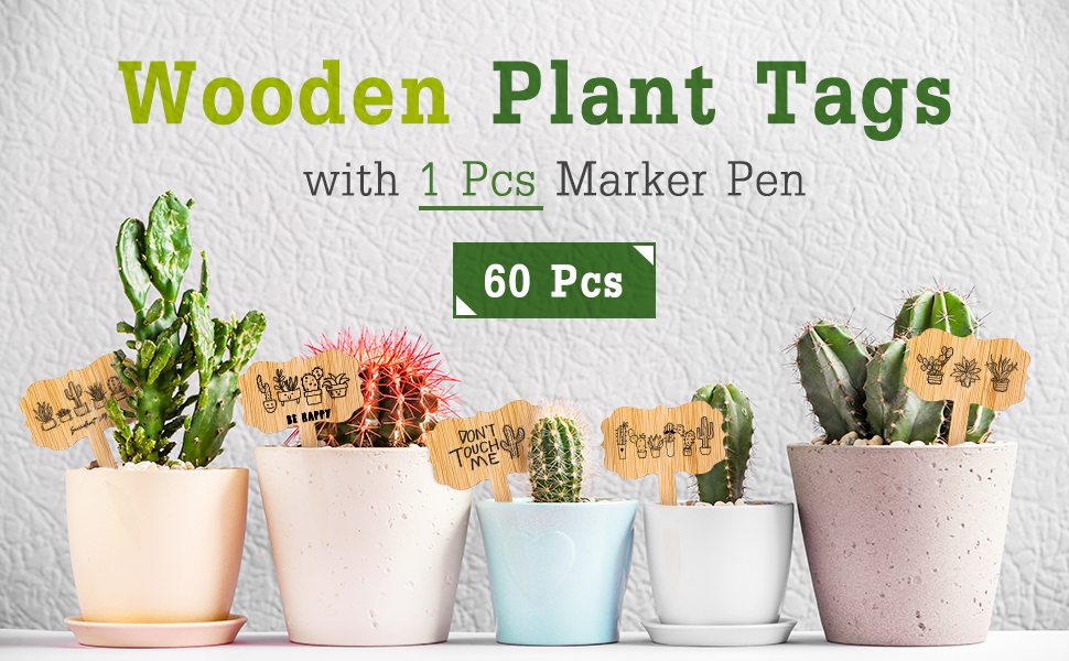Bamboo Plant Labels with 1 Marker Pen