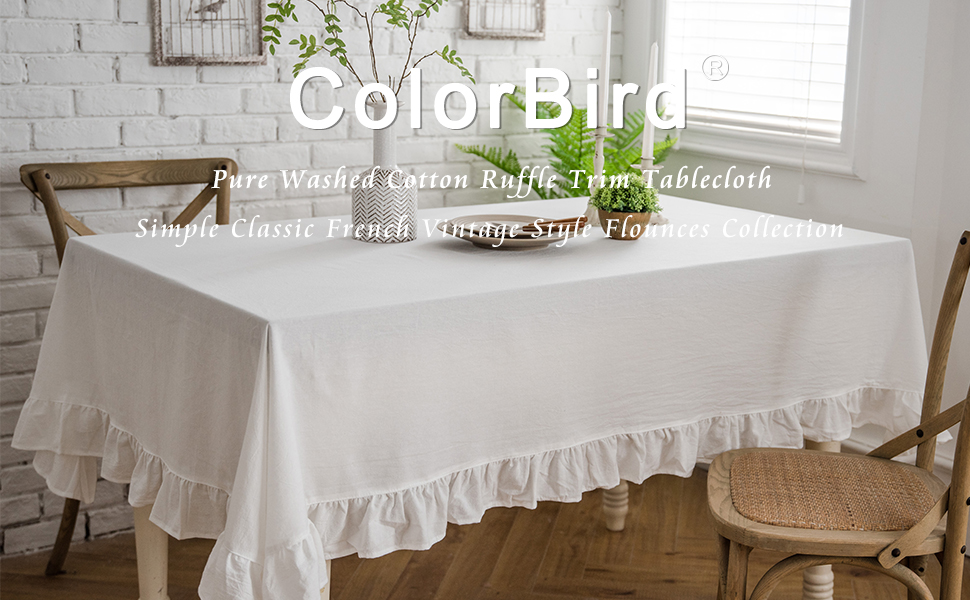 Colorbird French Vintage Ruffle Trim Tablecloth Washable Cotton Linen Table Cover For Kitchen Farmhouse Rustic Wedding Banquet Baby Shower Tabletop Use Rectangle Oblong 60 X 102 Inch White