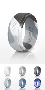 Gray Camo Wedding Comfortable Workout Rings